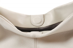 Handmade Italian Leather Shoulder Bag - Latina - Luna White