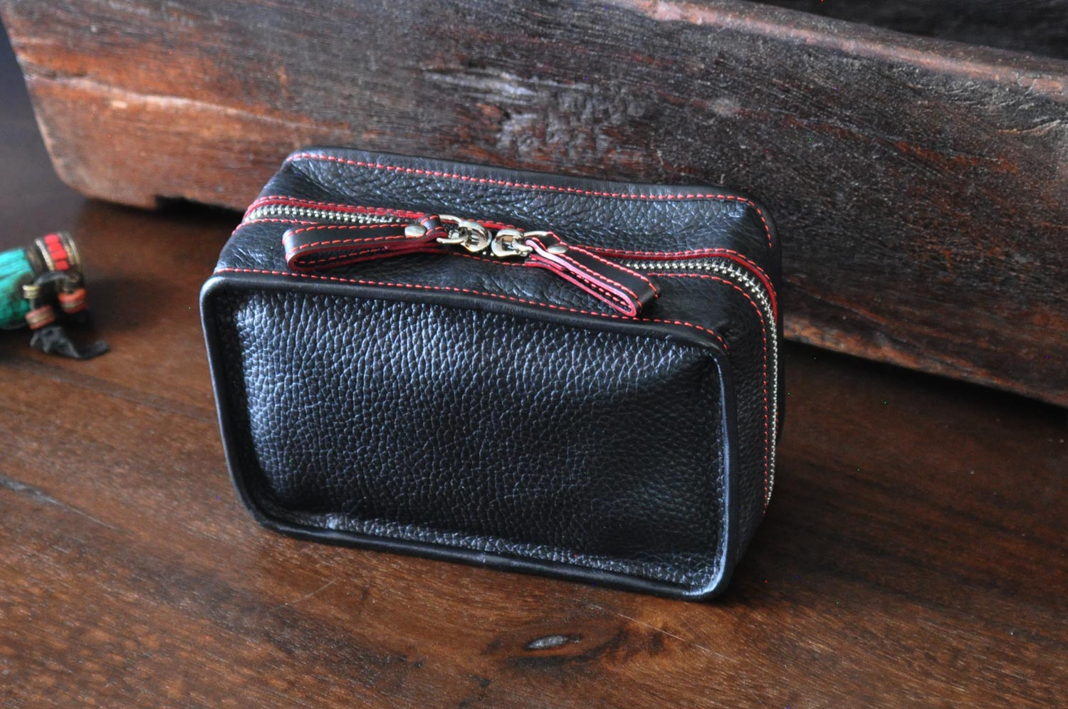 Leather Dopp Case for travel and tech items