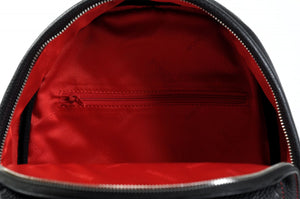 The Cortina Calf Leather Backpack - Onyx Black Lava Red Accents