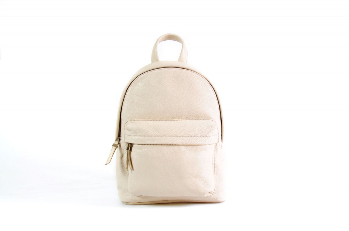 The Cortina Calf Leather Backpack -  Luna White