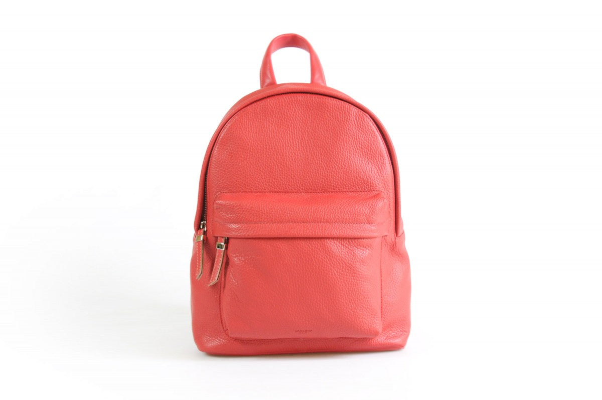 The Cortina Calf Leather Backpack - Lava Red