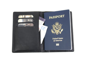 Leather Passport Case - Handmade in Italy by Borlino - Pockets for credit cards and cash.