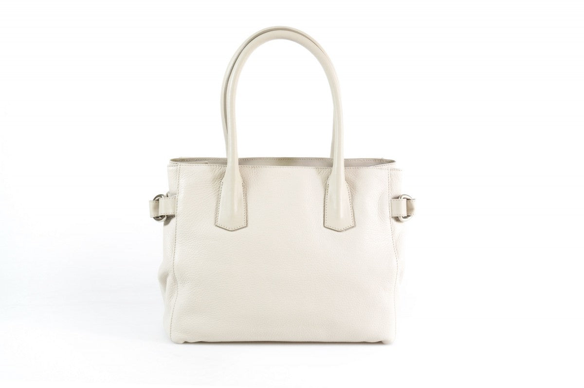 The Mantova Calf Leather Classic Handbag - Luna White