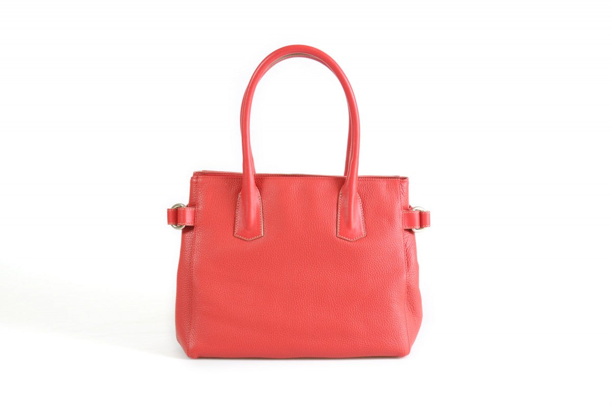 The Mantova Calf Leather Classic Handbag - Lava Red