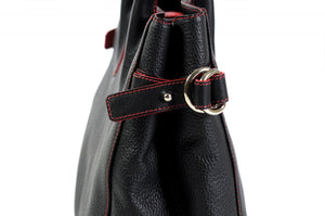 The Mantova Calf Leather Classic Handbag - Onyx Black Lava Red Trim
