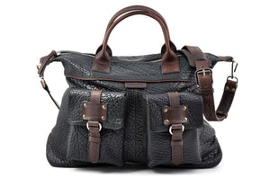Black Leather Duffel - The Milano leather duffle is perfect for a short weekend trip. It was designed to pack for a couple of days and still be able to easily carry the load.  Made in Italy by Borlino.