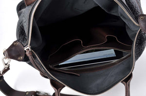 The Milano Buffalo Leather Duffle Bag - Onyx/Walnut