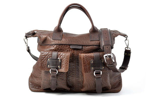 Leather Duffel - The Milano walnut brown leather duffle is perfect for a short weekend trip. It was designed to pack for a couple of days and still be able to easily carry the load.  Made in Italy by Borlino.