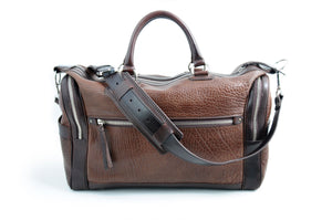 Leather Duffel - One-Night-Stand - Buffalo Walnut - This leather duffel bag is constructed of the finest Italian Buffalo and Vachetta leathers. It's perfect for weekend trips that securely fits in the plane overhead or under your seat or a short trip to the gym.