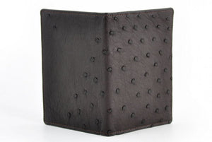 Leather Passport Cover - Ostrich Leather - Walnut Brown - This ostrich leather passport case doubles as a wallet.