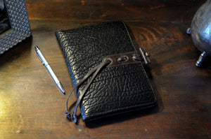 Black Buffalo Leather Journal with replaceable lined paper - Handmade in Italy by Borlino