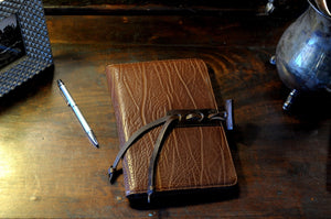 Buffalo Leather Journal with replaceable lined paper - Handmade in Italy by Borlino