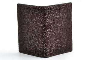 Leather passport case - Stingray Leather - Walnut Brown and handmade in Italy.