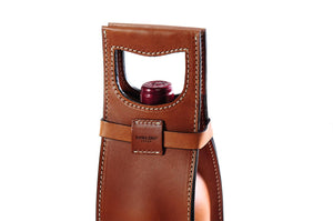 Italian Leather Wine Carrier - Vachetta Leathers - Terra