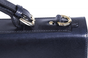 This strong leather double-gusset, key-locking briefcase is made with perfection in every detail. Handmade in Italy by Borlino of the finest Italian vegetable-tanned leathers and metals. Navy Blue Leathers by Borlino.