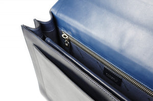 This strong leather double-gusset, key-locking briefcase is made with perfection in every detail. Handmade in Italy by Borlino of the finest Italian vegetable-tanned leathers and metals. Navy Blue Leathers.