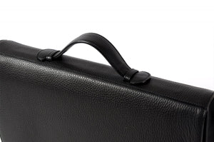 Men's  Black Leather executive briefcase - A Soft Leather Briefcase - The Borlino Briefolio - This Executive Black Leather Briefcase lays flat and filled with pockets and paper tablets.