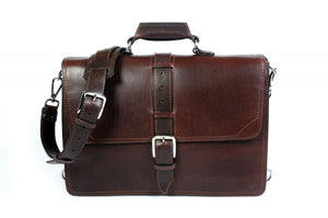 Leather Briefcase Handmade in Italy - This Classic briefcase is a double-gusset case designed for heavy loads. Guaranteed for life.