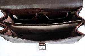 Walnut Brown Leather Briefcase Handmade in Italy - This Classic briefcase is a double-gusset case designed for heavy loads. Guaranteed for life.