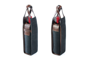 Italian Wine Case - Waxed Canvas and Leather - Onyx / Walnut