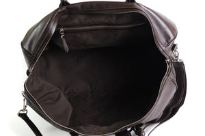 Leather Duffel Bag - This lightweight hand-crafted leather duffel bag is constructed of the finest Italian soft calf leathers. It's perfect for weekend trips that securely fits in the plane overhead. Great for a short trip to the gym or country club as well. The spacious interior also has a secure zippered pocket. Walnut Brown.