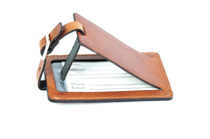 Terra Tan Leather Luggage Tag - Contemporary