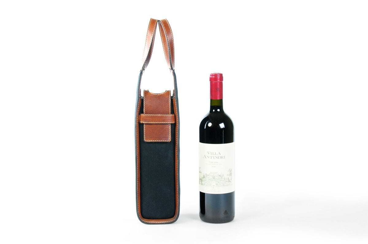 Italian Wine Case - Waxed Canvas and Leather - Onyx / Terra