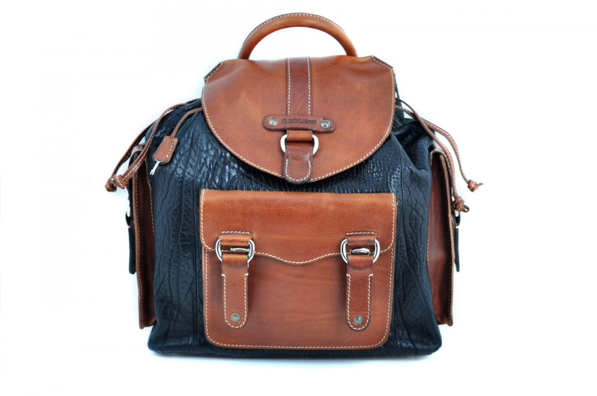 Buffalo Leather Backpack - We made the leather backpack to last for generations. It has all slide lock closures on the pockets and the top which even has a key-locking slide closure. Handmade of the finest Italian, vegetable-tanned Buffalo and Vachetta leathers, the Borlino Backpack is perfect for trips to the office or around the world. There are also additional pockets inside and a fast drawstring top all of leather.