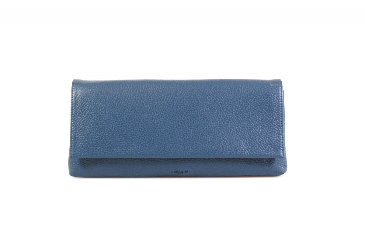 Handmade Italian Leather Clutch - Rimini - Capri Blue