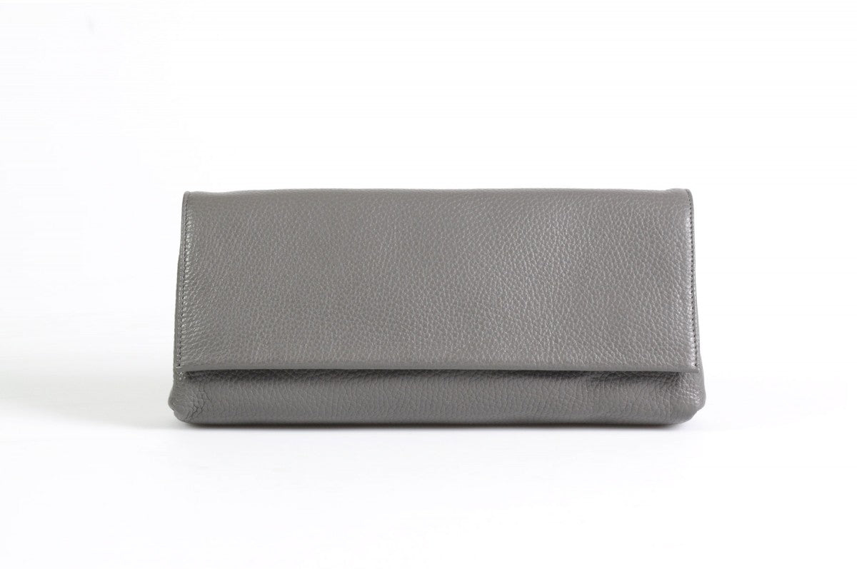 Handmade Italian Leather Clutch - Rimini - Pompeii Grey