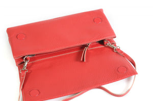 Handmade Italian Leather Clutch - Rimini - Lava Red