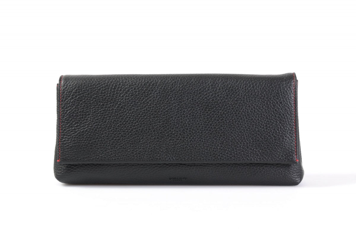 Handmade Italian Leather Clutch - Rimini - Onyx Black - Lava Red Trim