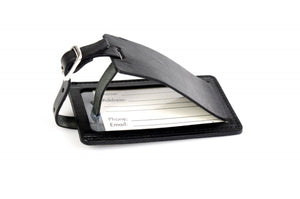 Black Leather Luggage Tag Contemporary