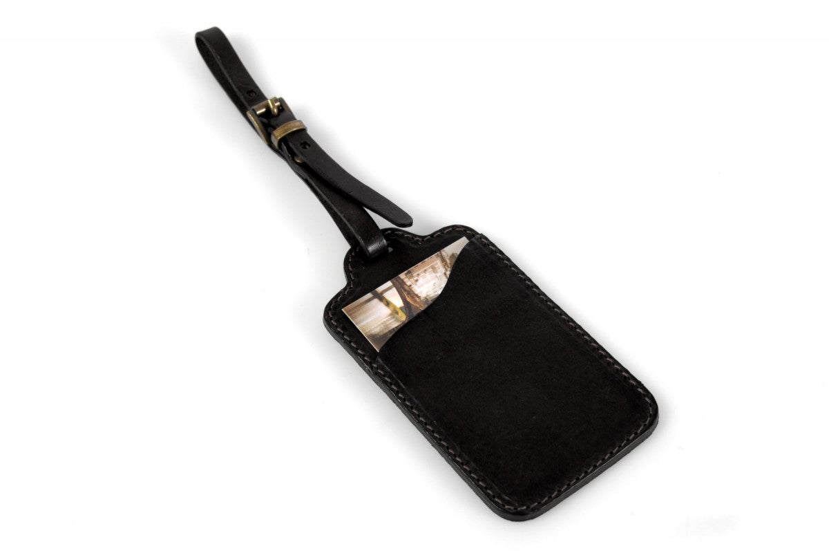 Rustic Black Leather Luggage Tag