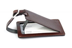 Luggage Tag, Leather Luggage Tag, Contemporary, walnut brown, brown, tag