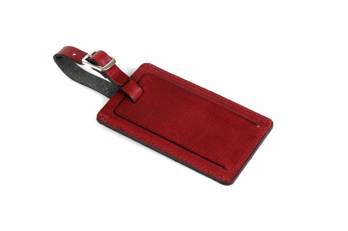 Contemporary Leather Luggage Tag - Wine