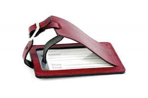 Burgundy Wine Leather Luggage Tag - Contemporary