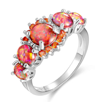 Lux Fire Opal Garnet Ring