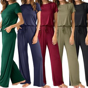 Short Sleeve Loose Jumpsuits with Pockets