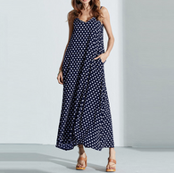 V-Neck Polka Dot Print  Long Maxi Dresses