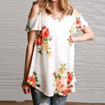 Load image into Gallery viewer, Slim Off Shoulder T-shirt Flower Print