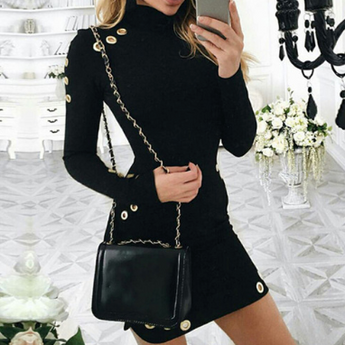 Long Sleeve Sexy Black Mini Dress Package