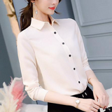 Blouse Chiffon Office Long Sleeve