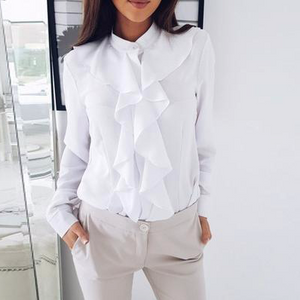 Long Sleeve Leaf Edge V Neck Ladies Office Shirts