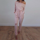 Jumpsuit Long Sleeve Slash-Neck Off Shoulder
