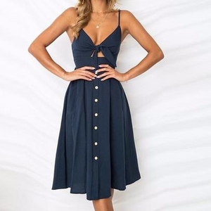Midi Dress Tie Front Button Down Strap