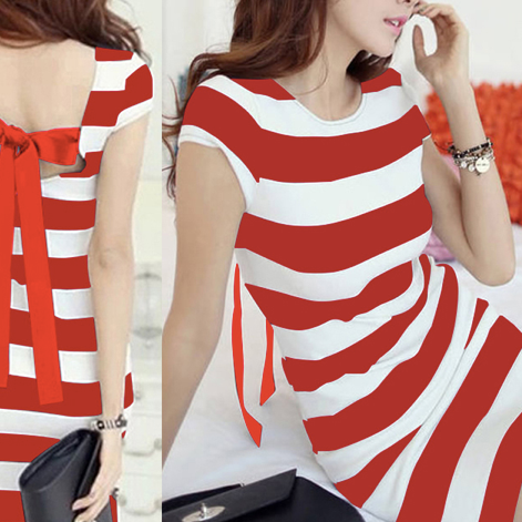 Sleeve Striped Summer Dress Mini