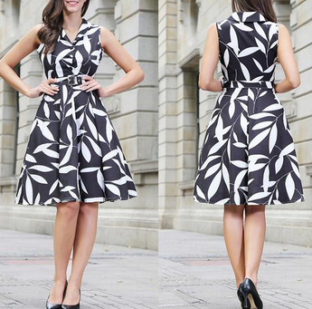 Leaf Printing Dress High Waist