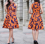 Load image into Gallery viewer, Leaf Printing Dress High Waist