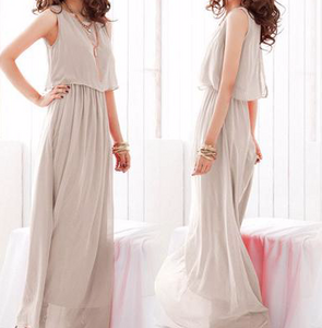 Pleated Maxi Dress Sleeveless